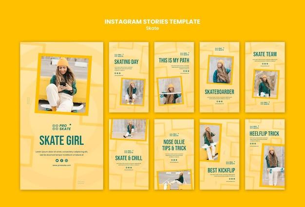 Modelo de histórias do instagram para conceito de skate