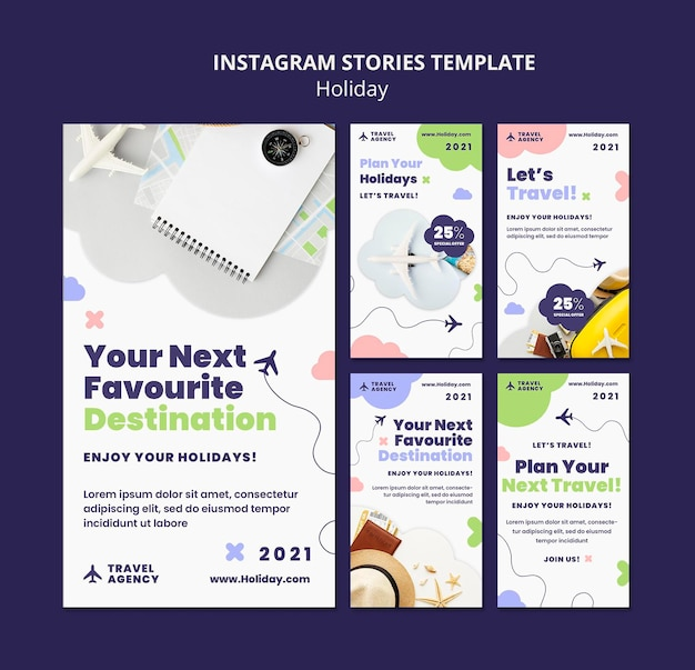 Modelo de histórias do instagram para conceito de viagens