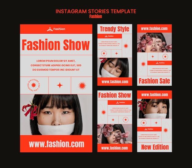 Modelo de histórias do instagram para desfile de moda