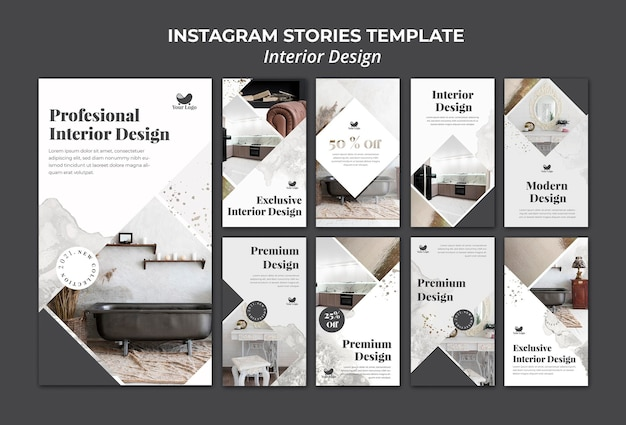 Modelo de histórias do instagram para design de interiores