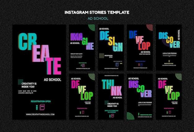 Modelo de histórias do instagram para escola de anúncios