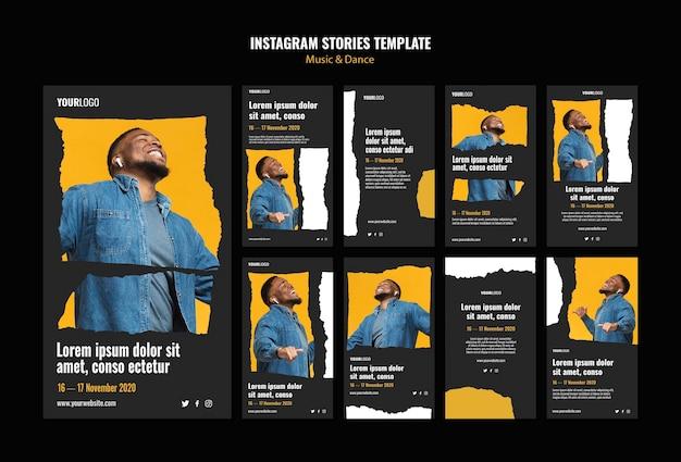 Modelo de histórias do instagram para eventos de música e dança