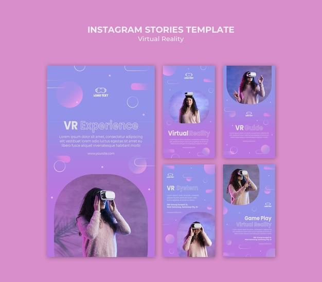 Modelo de histórias do instagram para experiência de realidade virtual