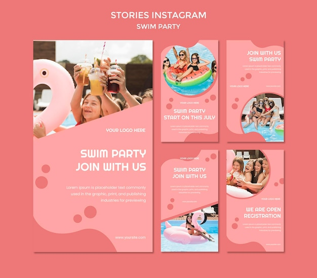 Modelo de histórias do instagram para festa de natação
