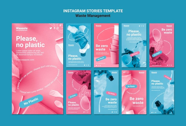 Modelo de histórias do instagram para gerenciamento de resíduos