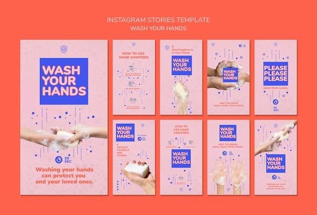 Modelo de histórias do instagram para lavar as mãos