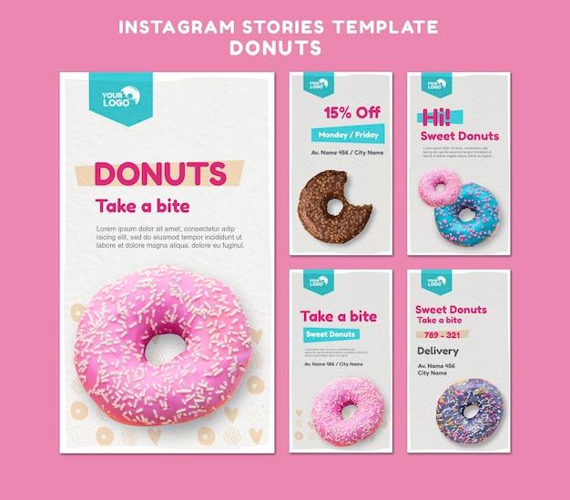 Modelo de histórias do instagram para loja de donuts