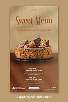 Modelo de histórias do instagram para mídia social do bolo para promoção de restaurantes