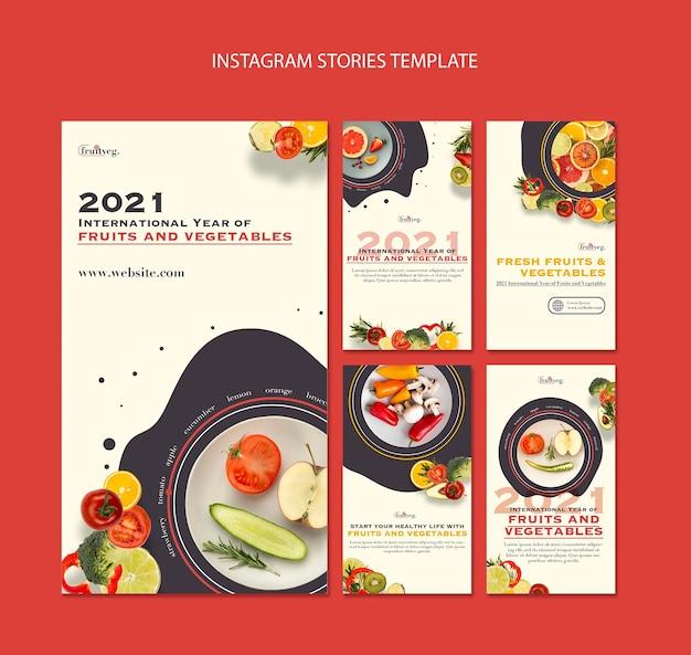 Modelo de histórias do instagram para o ano de frutas e vegetais