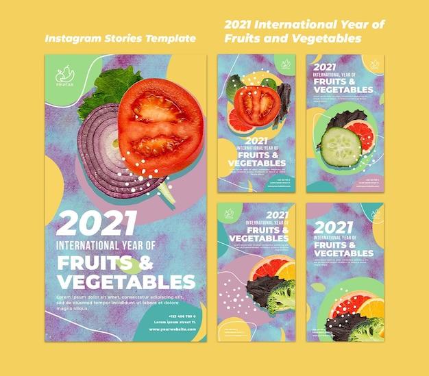 Modelo de histórias do instagram para o ano internacional das frutas e legumes