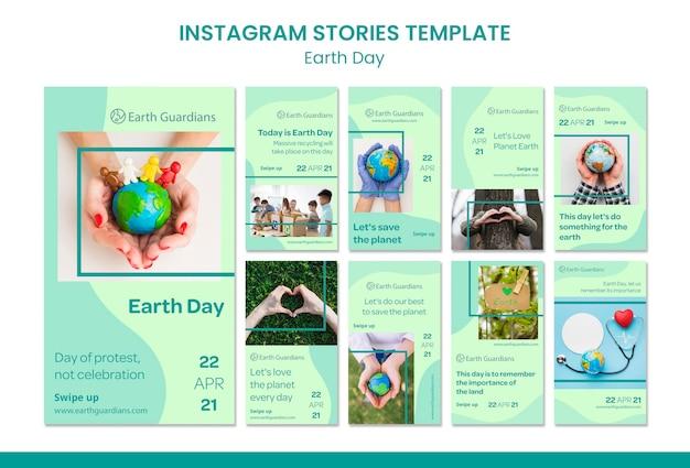 Modelo de histórias do instagram para o conceito do dia da terra