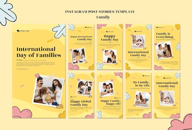 Modelo de histórias do instagram para o dia da família Psd Premium
