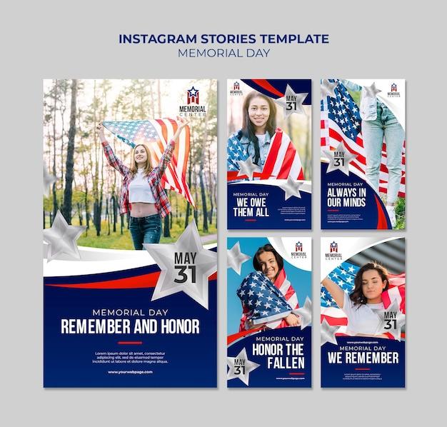 Modelo de histórias do instagram para o dia da memória