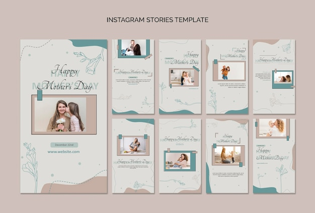 Modelo de histórias do instagram para o dia das mães