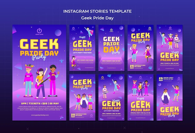 Modelo de histórias do instagram para o dia do orgulho geek