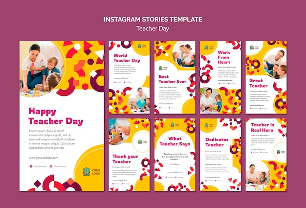 Modelo de histórias do instagram para o dia do professor