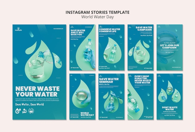 Modelo de histórias do instagram para o dia mundial da água