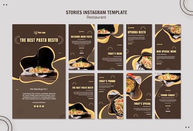 Modelo de histórias do instagram para restaurante de massas