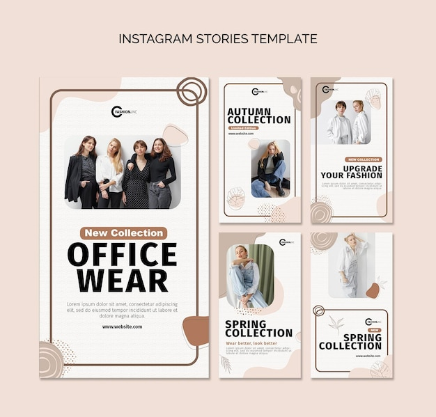 Modelo de histórias do instagram para roupas de escritório
