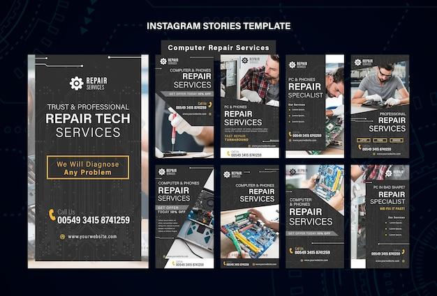 Modelo de histórias do instagram para serviços de reparo