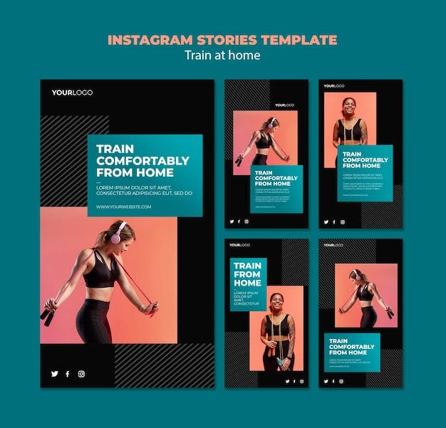 Modelo de histórias do instagram para treinar em casa