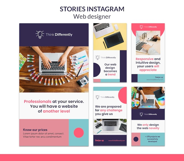 Modelo de histórias do instagram para web design