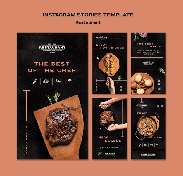 Modelo de histórias do instagram promocional de restaurante