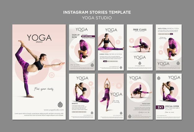 Modelo de histórias do instagram studio de yoga