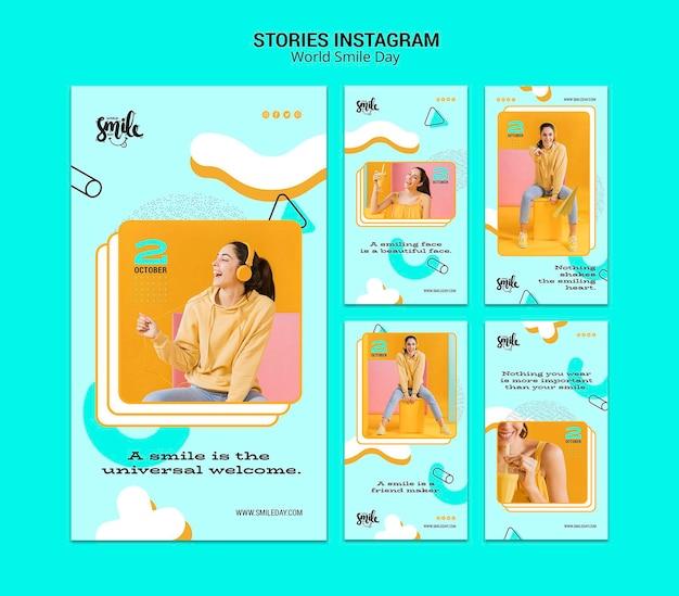 Modelo de histórias do mundo sorriso dia conceito instagram
