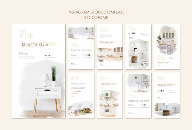 Modelo de histórias em deco para casa conceito instagram
