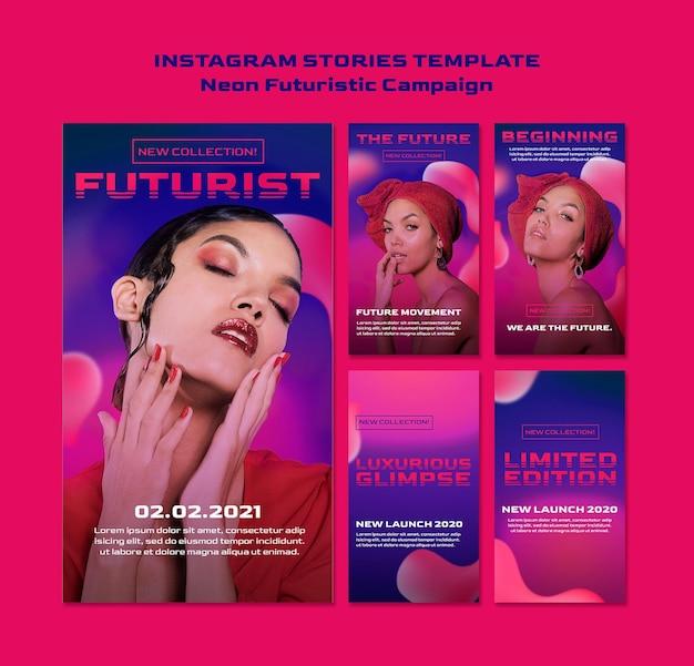 Modelo de histórias futurísticas de néon para instagram