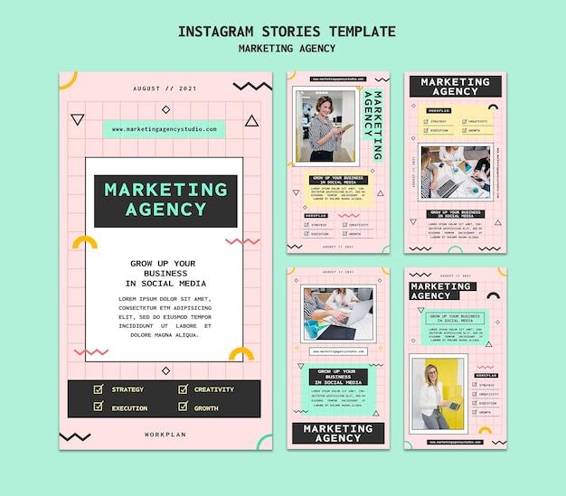 Modelo de histórias insta de agência de marketing de mídia social
