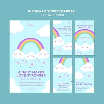 Modelo de histórias instagram chuva de amor