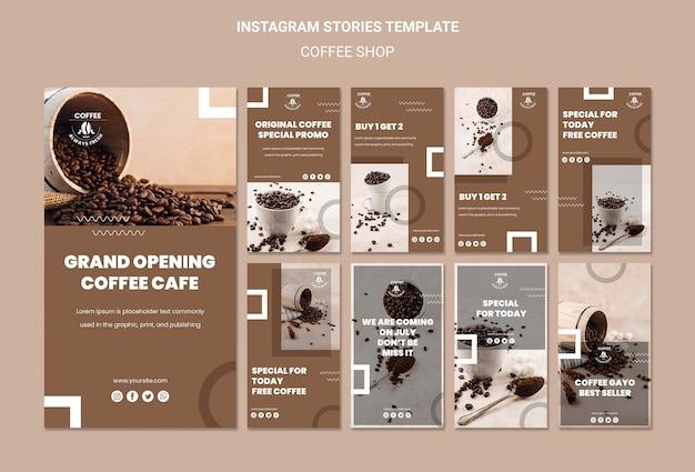 Modelo de histórias instagram de cafeteria