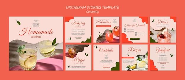Modelo de histórias instagram de conceito de coquetel