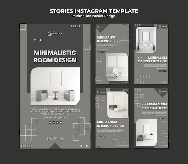 Modelo de histórias instagram de design de interiores minimalista