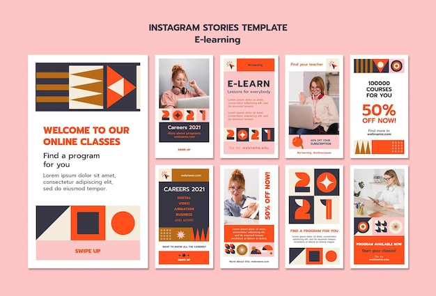 Modelo de histórias instagram de e-learning