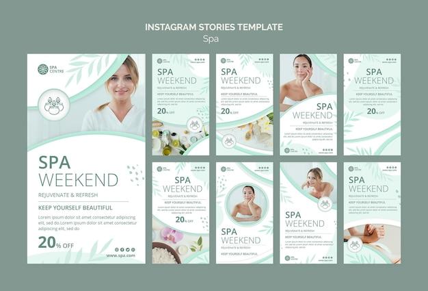 Modelo de histórias instagram de fim de semana de spa