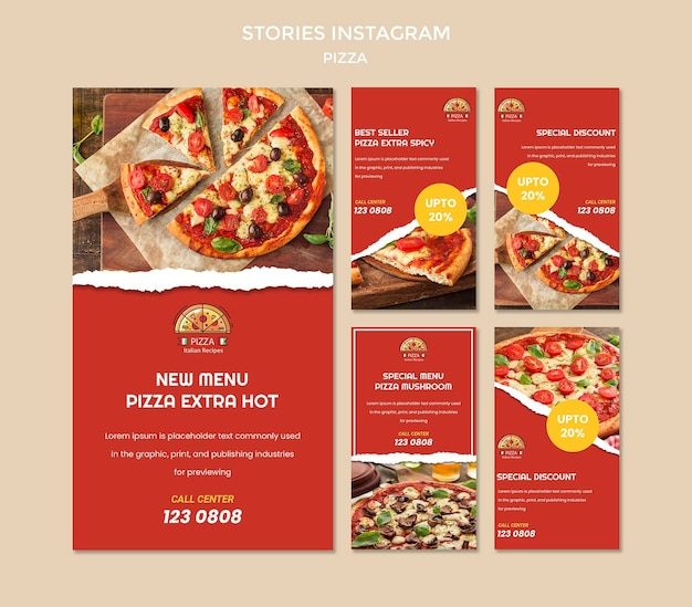 Modelo de histórias instagram de pizzarias