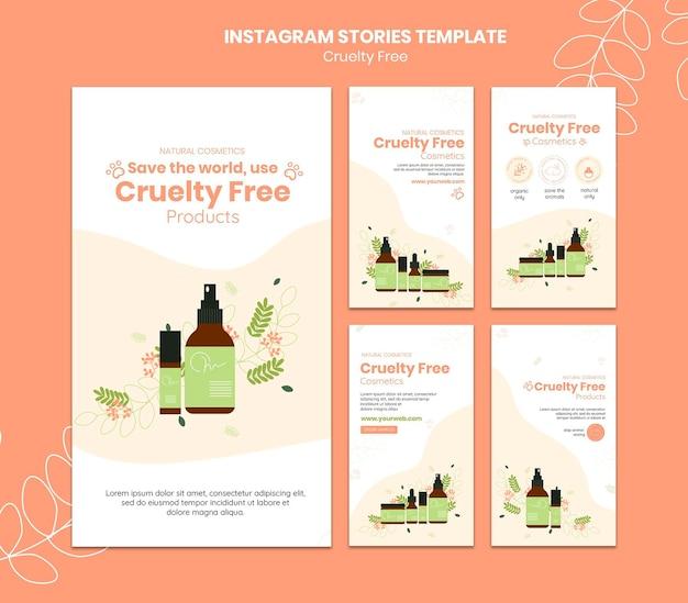 Modelo de histórias instagram de produtos gratuitos de crueldade