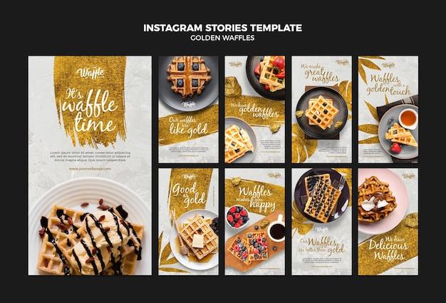 Modelo de histórias instagram de waffles dourados