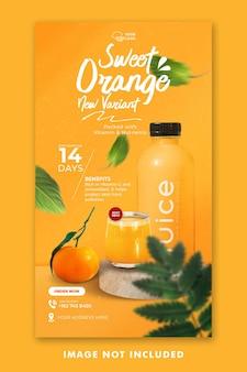 Modelo de histórias no instagram de mídia social de menu de bebidas de laranja para promoção de restaurantes