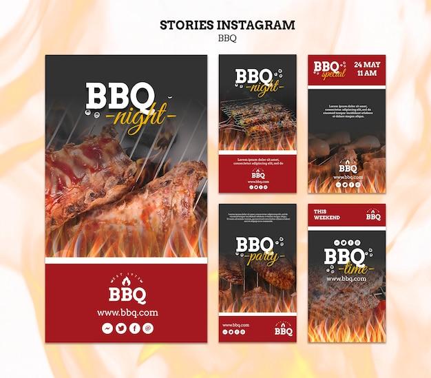 Modelo de histórias para instagram de festa de churrasco