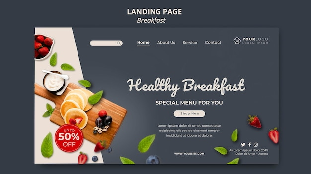 Modelo de hora do café da manhã da página de destino