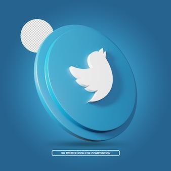 Modelo de ícone de renderização 3d de mídia social do twitter