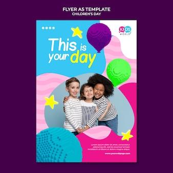 Modelo de impressão colorido divertido do dia das crianças