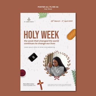 Modelo de impressão da semana santa com foto