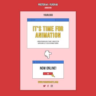 Modelo de impressão de aula online de animação