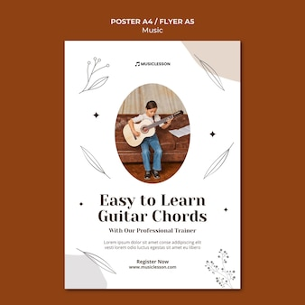 Modelo de impressão de aulas de guitarra