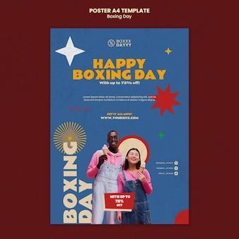Modelo de impressão de boxing day em cores retrô